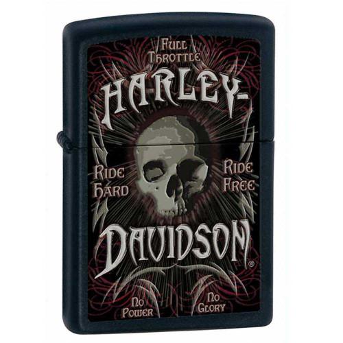 Harley-Davidson® Classic Zippo Lighter Matte Black Artistic Skull 24864
