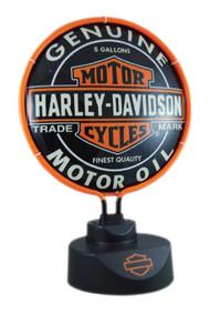 Harley-Davidson® Oil Can Bar & Shield Neon Desk Light, Black HD-OIL-893