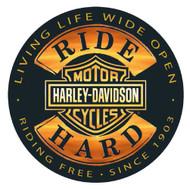 Harley-Davidson® Ride Hard Round 14 Inch Tin Sign 2010671 - Wisconsin Harley-Davidson