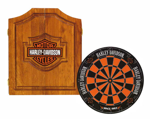 Harley-Davidson® Bar & Shield Darts Kit: Cabinet, Dartboard, Darts & Throw Line - D