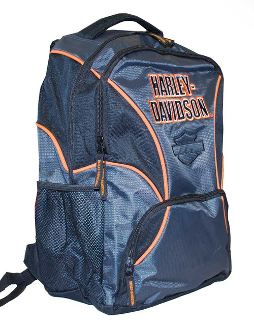 Harley-Davidson® Boys' Black/Grey/Orange Canvas Backpack, Water Resistant 3180174 - A