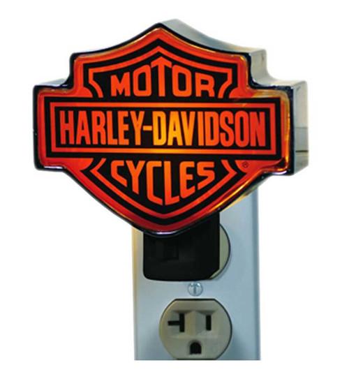 Harley-Davidson® Chrome Bar & Shield Logo Orange Plug-In Nightlight HD-HD-857