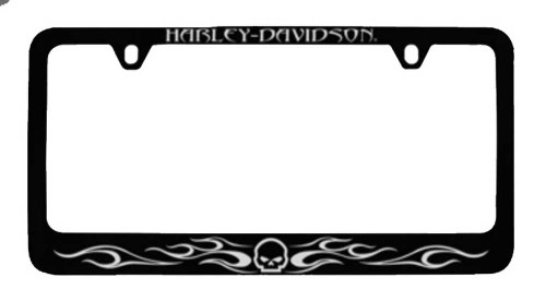 Harley-Davidson® Flames Willie G. Skull License Plate Frame Black HDLFZK184