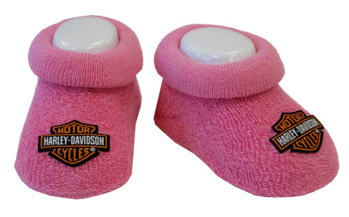Harley-Davidson® Baby Girls' Boxed Stretch Terry Booties, Pink S9LGL20HD (0/3M) - A