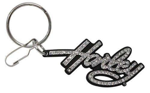 Harley-Davidson® Bling Rhinestone Harley Script Enamel Key Chain, Silver 4331
