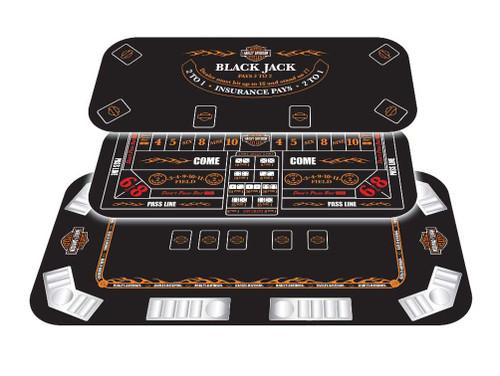 Harley Davidson® Poker Table Top Black Jack 3 IN 1 Casino Games