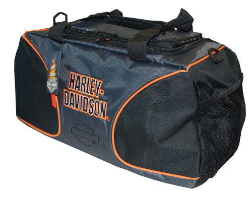 Harley-Davidson® Deluxe Embroidered Duffle Bag Duffel, Grey/Black/Orange 0280316 - A
