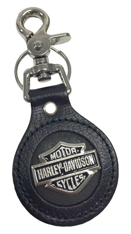 Harley-Davidson® Bar & Shield Emblem Round Leather Key Fob, Black K70H
