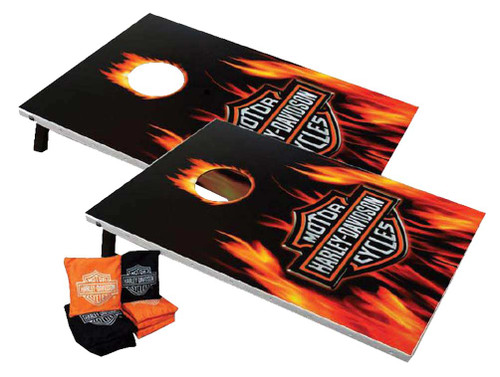 Harley-Davidson® Flaming Bar & Shield Cornhole Bean Bag Toss Game 66279