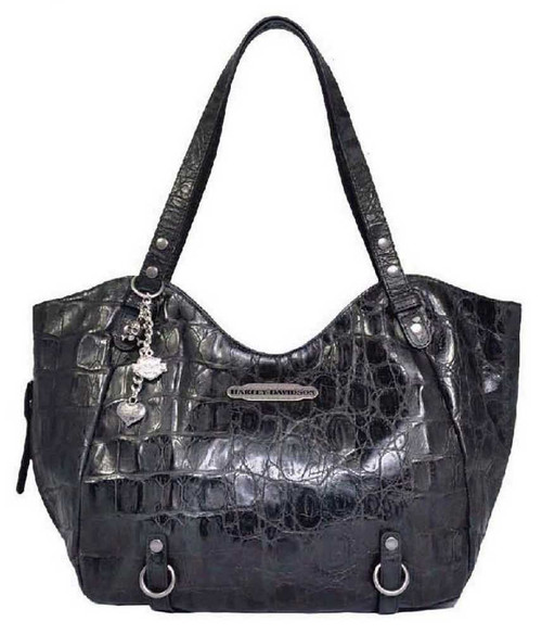 Harley Davidson Womens Black Hammered Croco Shopper Bag Purse HC7910L-BLK
