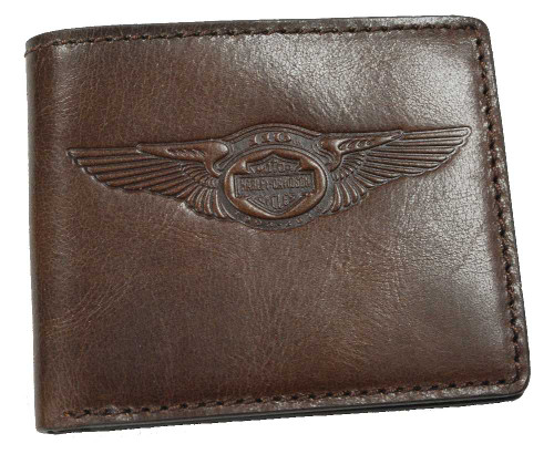 Harley-Davidson® 110th Anniversary Classic Billfold Brown Leather AM1162L-Brown - A