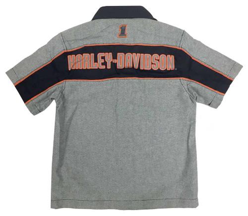 Harley-Davidson® Big Boys' Embroidered Woven Button Shop Shirt, Gray 1091728 - A