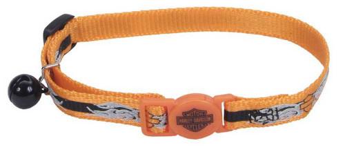 Harley-Davidson® B&S Flames Reflective Cat Collar 8-12 Inch Orange H6741-H-OBF12