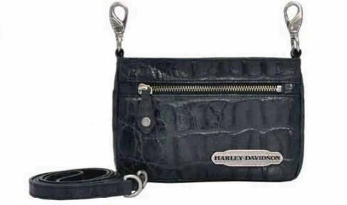 Harley Davidson Womens Black Hammered Hip Bag Purse HC7988L-BLK