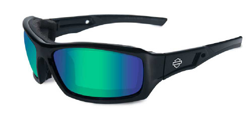 Harley-Davidson® Echo Emerald Lens w/ Gloss Black Frame Sunglasses HDECH04