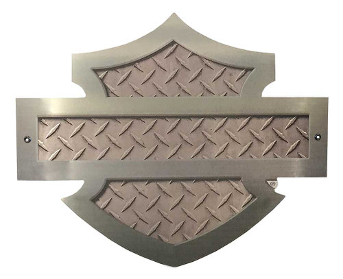 Harley-Davidson® Cut Out Bar & Shield Diamond Plate Aluminum Sign AC-CU-DP-HARL
