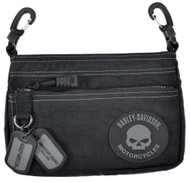 Harley-Davidson® Rally Hip Bag, Willie G Skull Rubber Patch Logo RL7251S-GRYBLK - A
