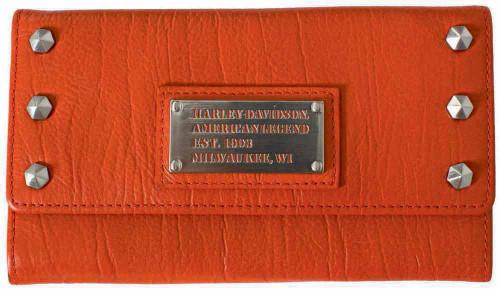 Harley Davidson Womens All Bark Orange Trifold Clutch Wallet AB7790L-ORG
