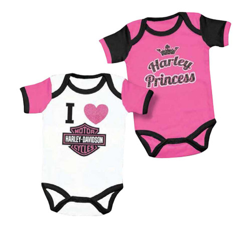 Harley Davidson Baby Clothes Best HarleyDavidson Baby Girls' Princess Creeper Set 60 Pack PinkWhite