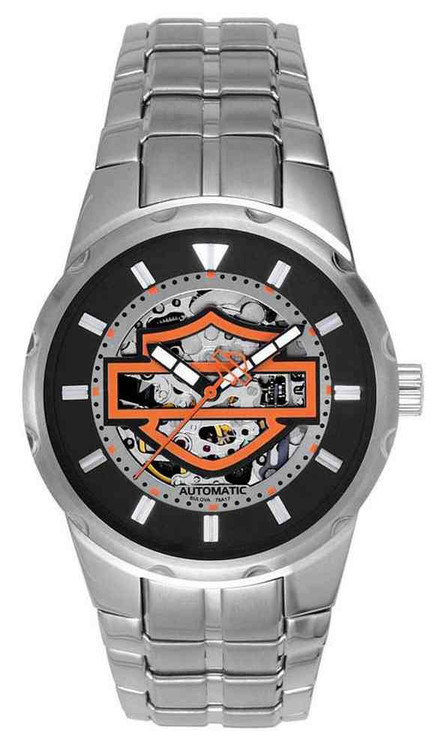 harley-davidson® men's bar & shield automatic watch, stainless