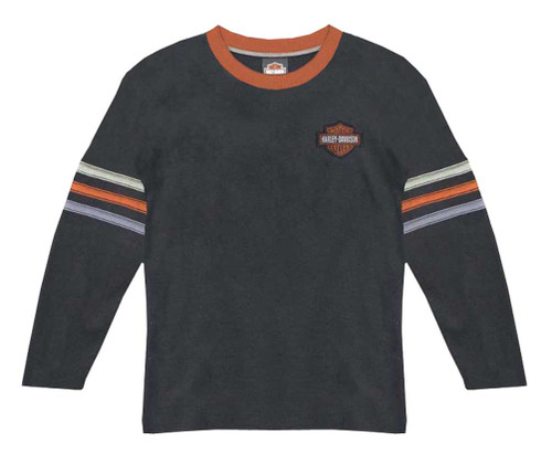 Harley-Davidson® Big Boys' Long Sleeve Waffle Knit Thermal Shirt, Black 1091688 - A