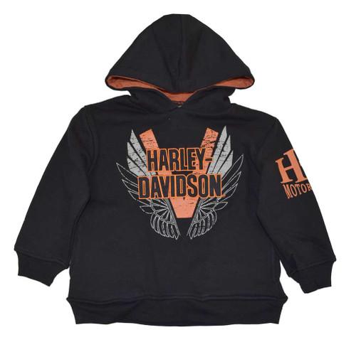 Harley-Davidson® Big Boys' H-D Pullover Fleece Hooded Sweatshirt, Black 4291382 - A