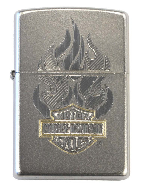 Harley DavidsonR Classic Zippo Lighter Satin Chrome Flame Bar Shield 28127