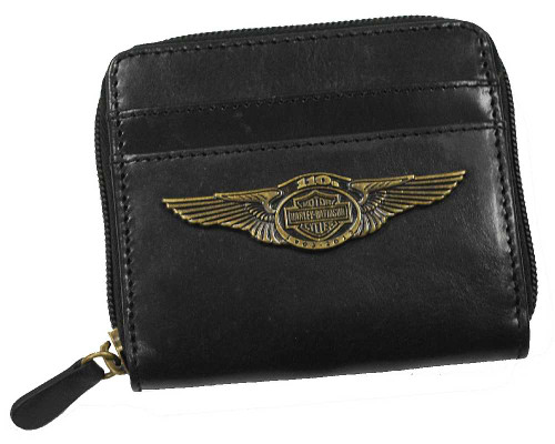 Harley-Davidson® 110th Anniversary Zip Around Wallet Black Leather AL1178L-BLACK - C
