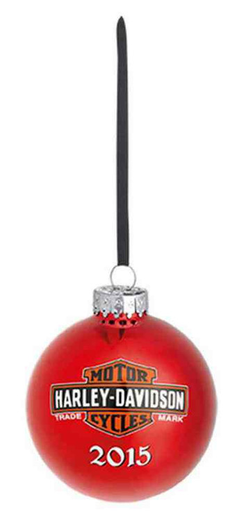 Harley-Davidson® 2015 Handpainted Bike Glass Ball Ornament, 3'' Red. 96845-16V - A