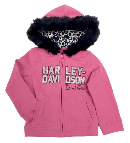 Harley-Davidson® Baby Girls' Glittery Fleece Hooded Sweatshirt, Pink 6511708