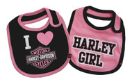 Harley-Davidson® Baby Girls' Bibs, Bar & Shield 2 Pack Set, Black/Pink 7009505 - Wisconsin Harley-Davidson