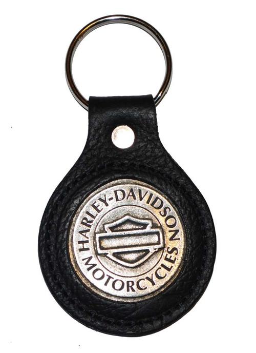 Harley-Davidson® Bar & Shield Black Leather Medallion Key Ring K78H