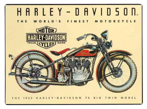 Harley-Davidson® 74 Big Twin Tin Metal Sign 12.5 x 17 Inch  2010011 - Wisconsin Harley-Davidson