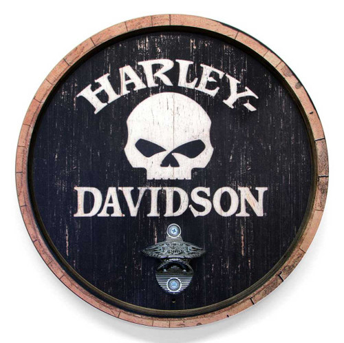 Harley-Davidson® 15 In Round Skull Bottle Opener Wooden Sign CU118B-BO-SCGPX4-H