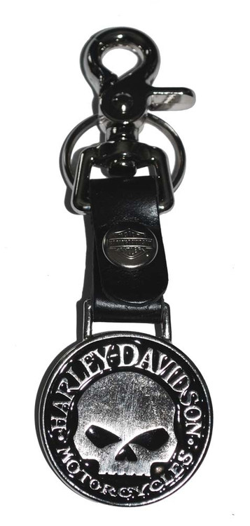Harley-Davidson® Bottle Opener Skull Medallion Leather Strap Key Fob w/ Hook K75H