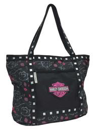Harley-Davidson® Bar & Shield Flowered Tote Bag, Black 7130519