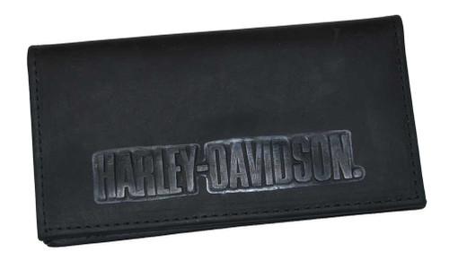 Harley-Davidson® Embossed H-D Font Checkbook Cover Leather Black CK704H-7 - A