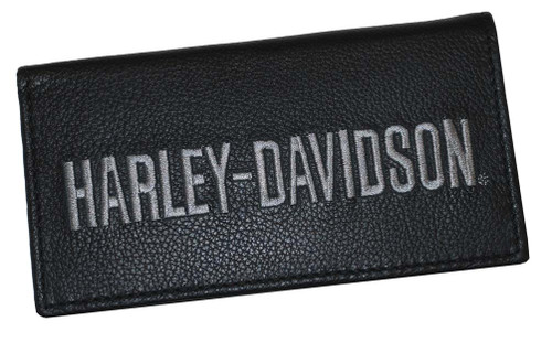 Harley-Davidson® Black Leather Embroidered Checkbook Cover FC806H-7G - A