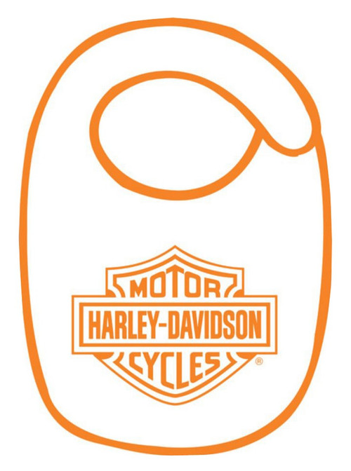 Harley-Davidson® Baby Boys' Bib Set, Orange Bar & Shield, White BI30279