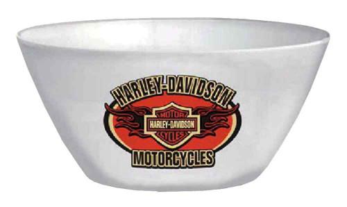 Harley-Davidson® Flaming Bar & Shield Melamine Serving Bowl, White HD-HD-909
