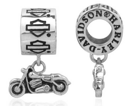 Harley-Davidson® Bar & Shield Dangle Motorcycle Sterling Silver Ride Bead HDD0062