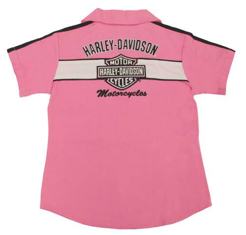 Harley-Davidson® Big Girls' Pink Cotton Button Twill Pit Crew Shirt 0141166 - A