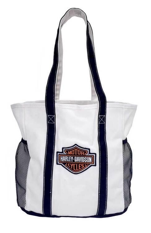 Harley-Davidson® Embroidered Bar & Shield Beach Tote Bag, White 2330440 - C