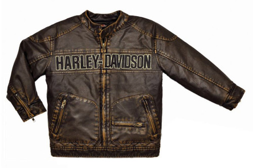 Harley-Davidson® Big Boys' Embroidered Laundered P.U. Biker Jacket, 3396084 - Wisconsin Harley-Davidson