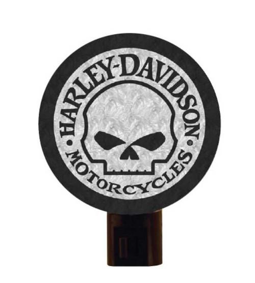 Harley-Davidson® Art Glass Night Light, Willie G. Skull Logo Nite Lite HD-WGS-246