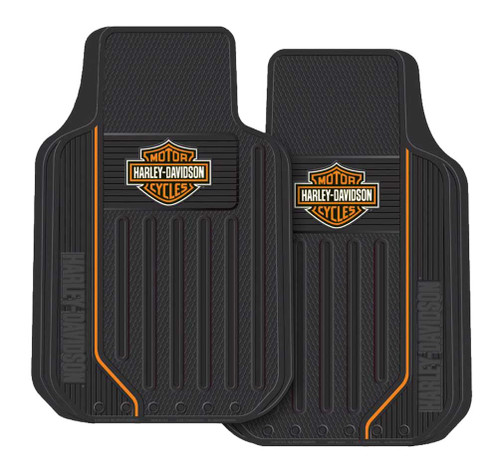 Harley-Davidson® Elite Floor Mats, Bar & Shield Universal-Fit Front 1467 Set of 2 - Wisconsin Harley-Davidson