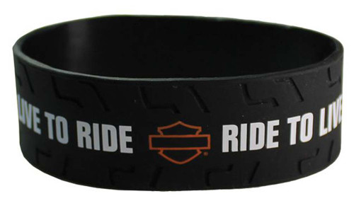Harley-Davidson® Burn Rubber Black Silicone Wristband, 1'' Thick WB130430
