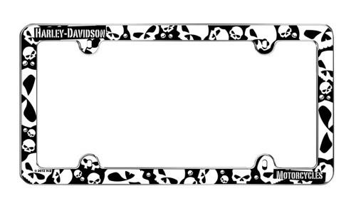 Harley-Davidson® Black & White Skulls Plastic License Plate Frame Cover CG6338