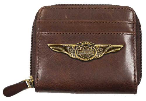 Harley-Davidson® 110th Anniversary Zip Around Wallet Brown Leather AL1178L-Brown - C