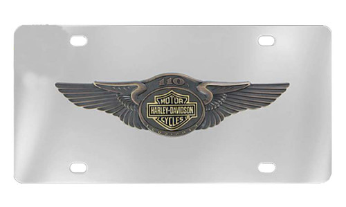 Harley-Davidson® 110th Anniversary Bar & Shield License Plate Silver HDLPD237